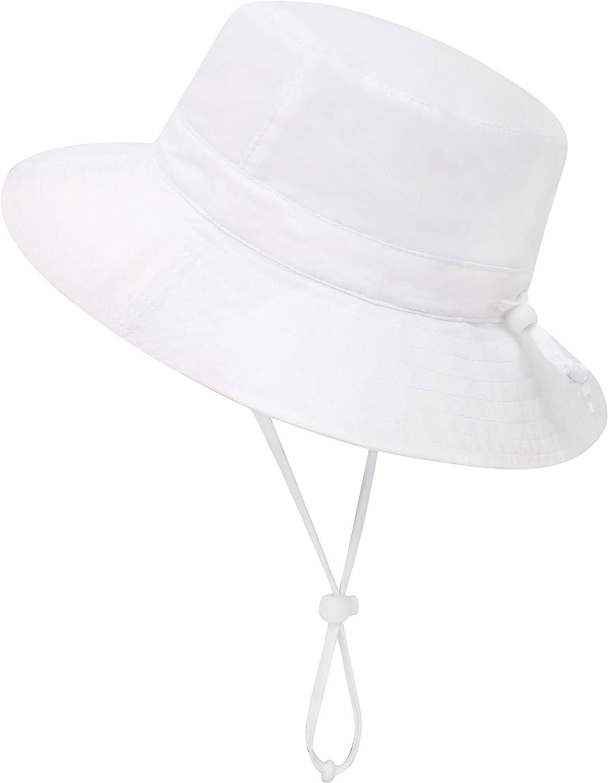 Simplicity Baby Sun Hat Baby UPF 50+ Adjustable Drawstring Wide Brim Bucket Sun Hat