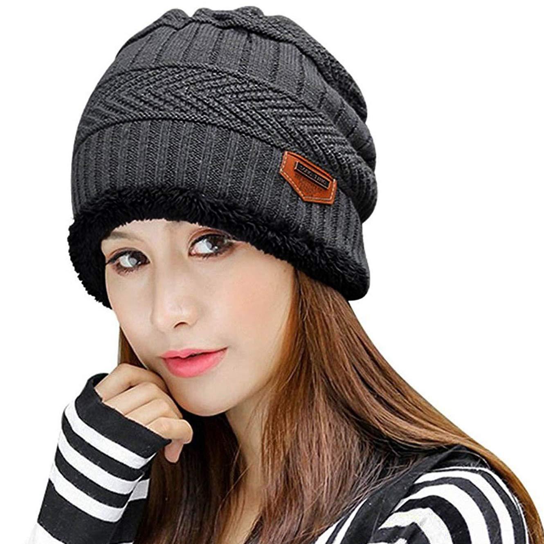 Muryobao Thick Warm Winter Beanie Hat Slouchy Skully Knit Hats Soft Stretch Ribbed Cap for Women Snow Ski Grey