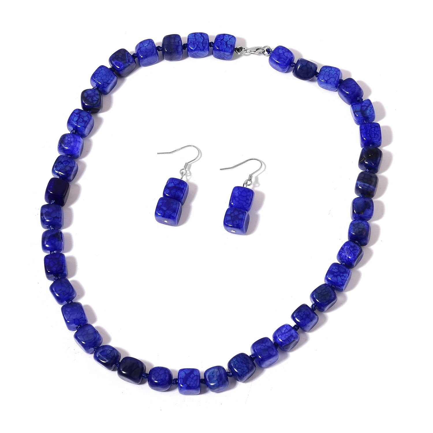 Enhanced Lapis-Blue Agate Rhodium Plated Silver Earrings and Necklace Jewelry Set For Women 18''