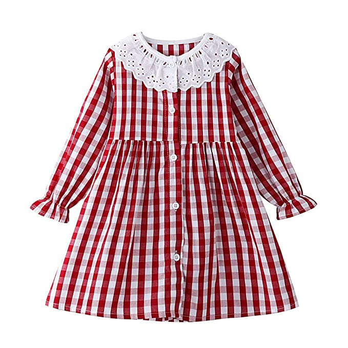 1930s Childrens Fashion: Girls, Boys, Toddler, Baby Costumes HILEELANG Toddler Girl Casual Dress Stripe Long Sleeve Autumn Winter Cotton Basic Shirt Christmas Outfit Dress $16.99 AT vintagedancer.com