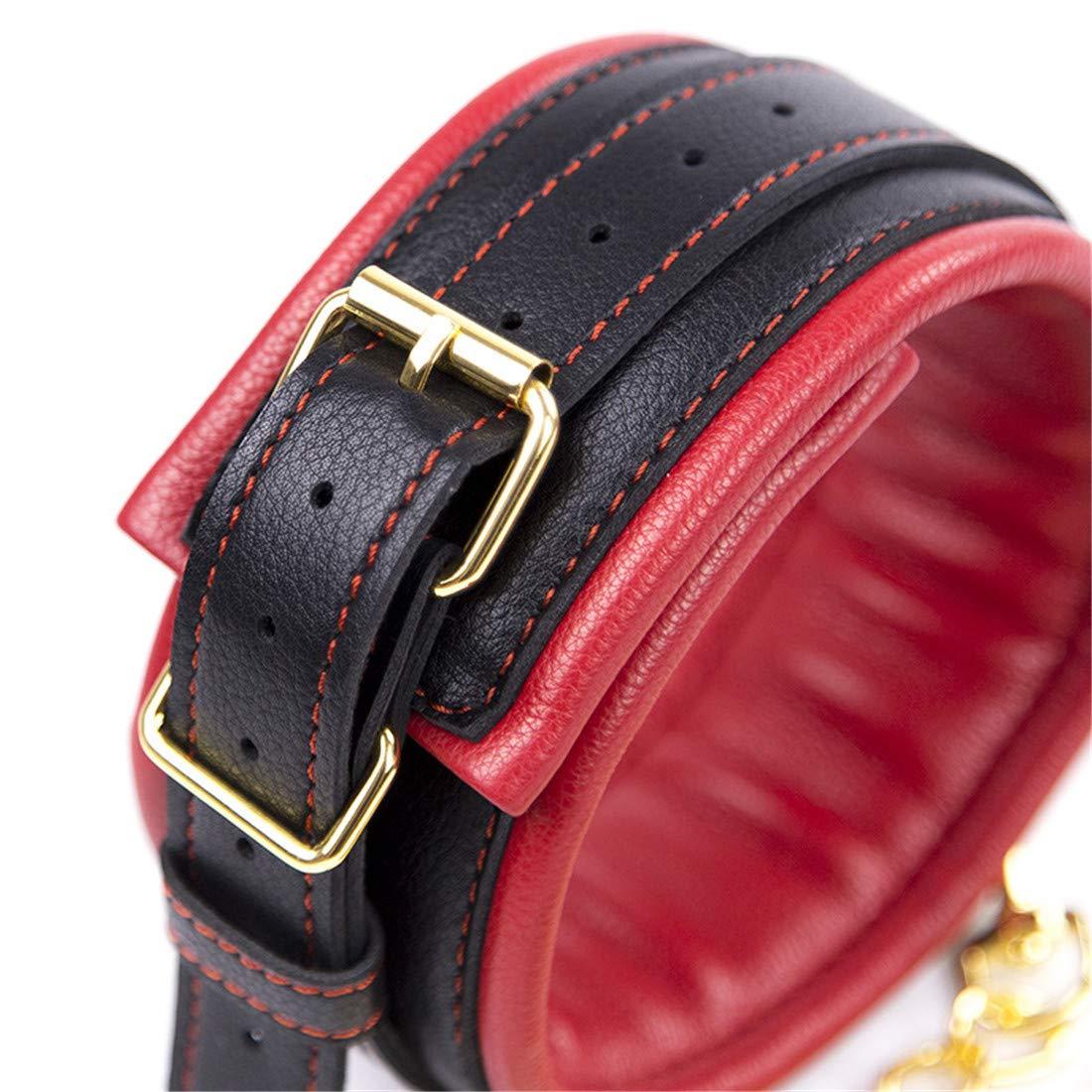 Cvthfyky 3 unid Juguetes Sexuales Restricción Ajustable Pareja Fetish Vendaje Esposas Ajustable Restricción Encuadernación Cadena de Tracción Accesorios (Color : Black Red) f98e7e