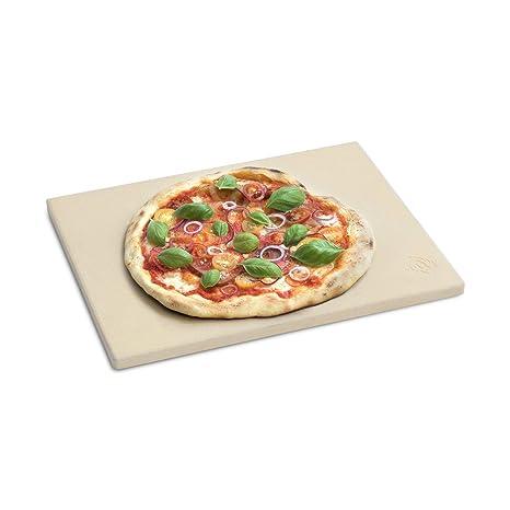 BURNHARD Piedra para Pizza para Horno y Parrilla, Cordierit, Rectangular, Adecuado para Pan, Tarta flambeada y Pizza, Asar a la Piedra, Pan de ...