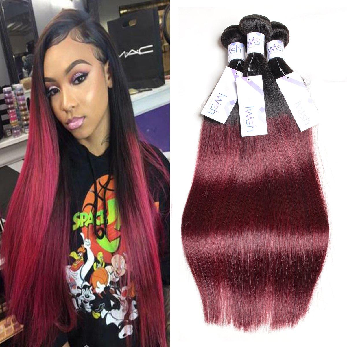 Iwish Hair Two Tone T 1b 99j Burgundy Ombre Brazilian Hair Silky