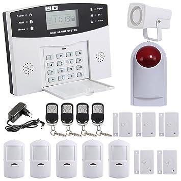 Yorbay Kit Alarme Maison Sans Fil Téléphonique GSM Avec Capteur De Porte Et Détecteur  Mouvement (