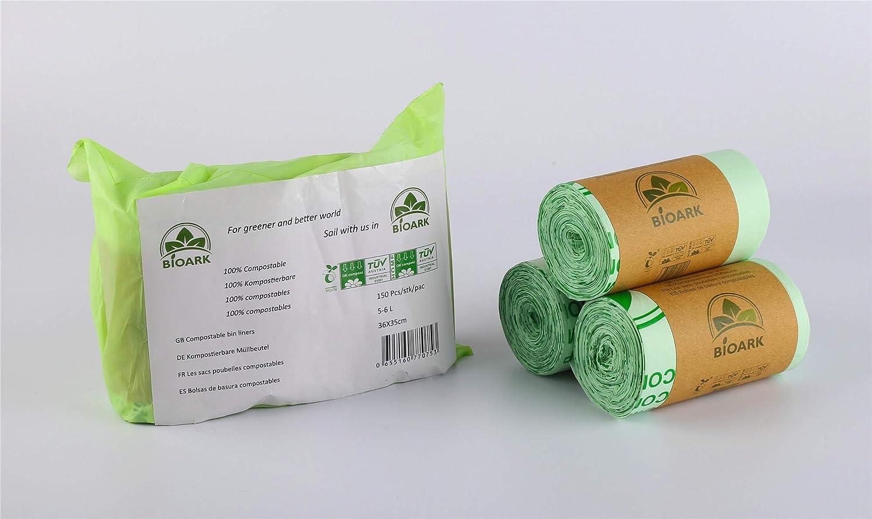 BIOARK Bolsa de Basura Biodegradable 100, 5-6 litros, 150 Unidades ...