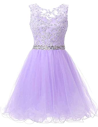 PEBridal Womens Crystals Lace Prom Dress Short Evening Dresses for Weddings US2 Lilac