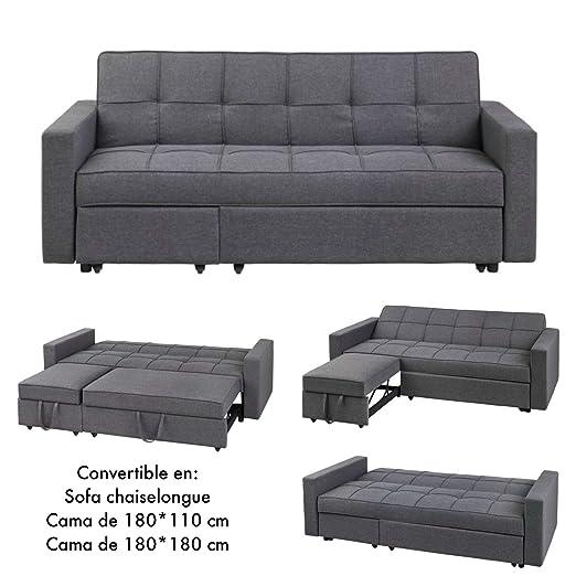 MerkaHome Sofa Cama Clic clac con chaiselongue Loira Cama 180x180 cm Gris