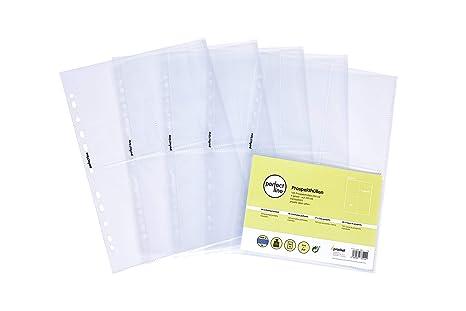 perfect line 100 Sammel-Hüllen 4-geteilt, glas-klar, Prospekt-Huelle DIN-A4 transparent, Sicht-Tasche auf 4 Fächer (4 x A6),