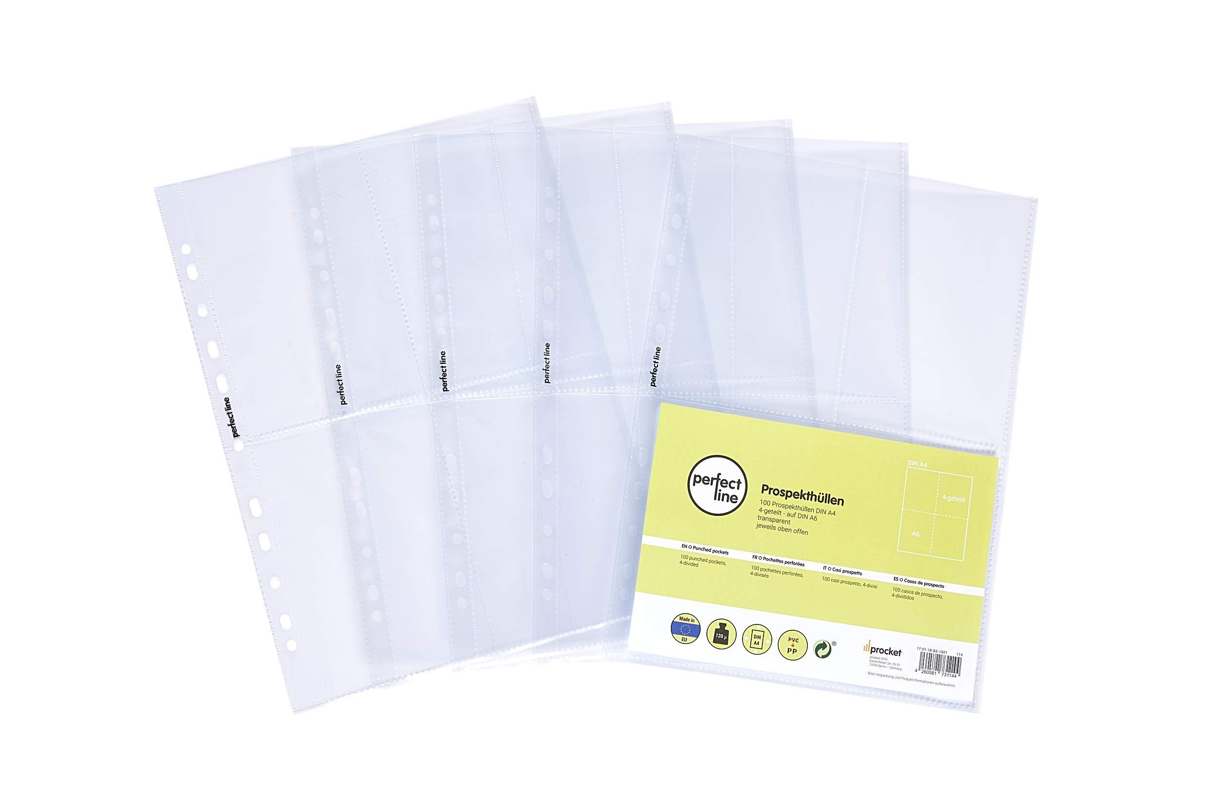 perfect line 100 fundas para guardar transparentes A4, divididas en 4 partes A6, lámina