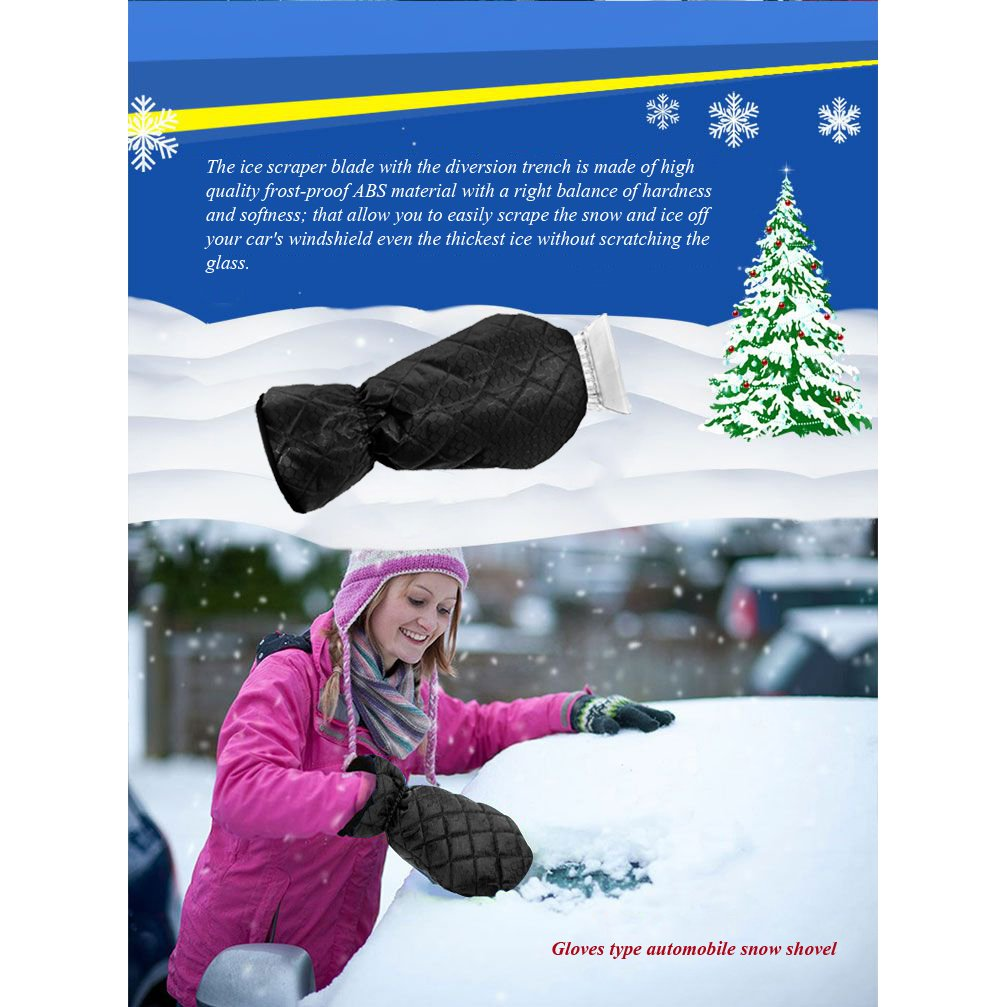 ZFZOO Ice Scraper Mitt Windshield Snow Scrapers with Waterproof Snow Remover Glove Lined of Qualited Fleece for Car Black