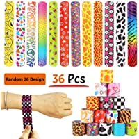 36 PCS Slap Bracelets Party Favors Pack with Diverse Pattern, Emoji, Animals, Heart Print Design, Retro Slap Wrist Bands for Kids Teens Adults Christmas Toys Prize Halloween