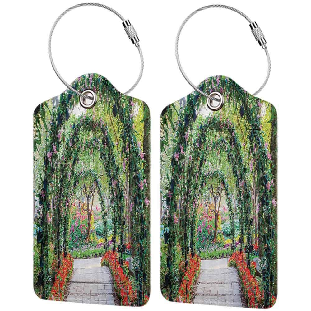 Decorative luggage tag Country Home Decor Flower Arches with Pathway in Ornamental Plants Garden Greenery Romantic Picture Suitable for travel Green Red W2.7 x L4.6