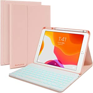 iPad Keyboard and 10.2-inch Case for 7th/8th Gen 2018/2020, iPad Pro 10.5 inch Case Keyboard for iPad Air 3th 2019 with Pencil Holder, Detachable Wireless BT Keyboard, Smart Cover, Tablet Case(Pink)