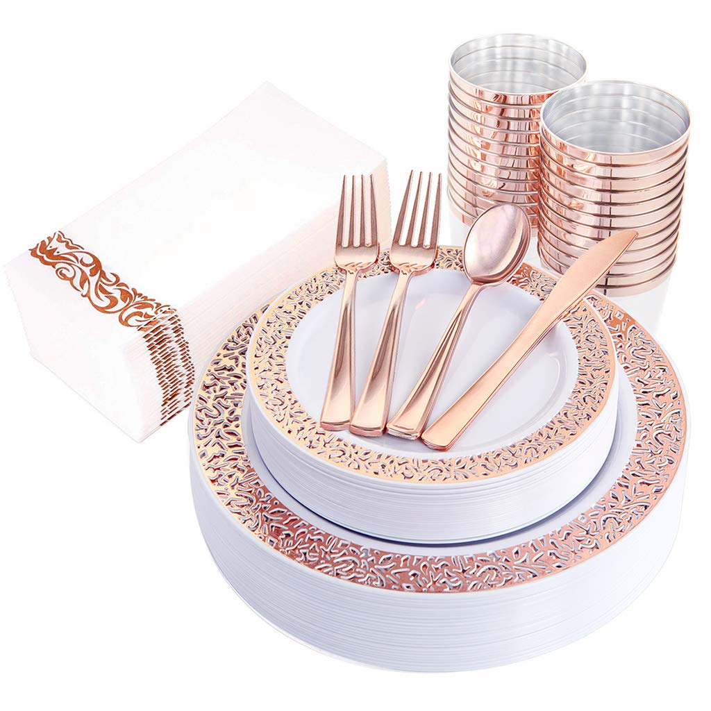 "IOOOOO 160pcs Lace Dinnerware Set, 20 Rose Gold Dinner Plates 10.25"", 20 Dessert Plates 7.5"", 40 Forks, 20 Spoons, 20 Knives, 20 Plastic Cups 10oz, 20 Linen Like Paper Napkins"