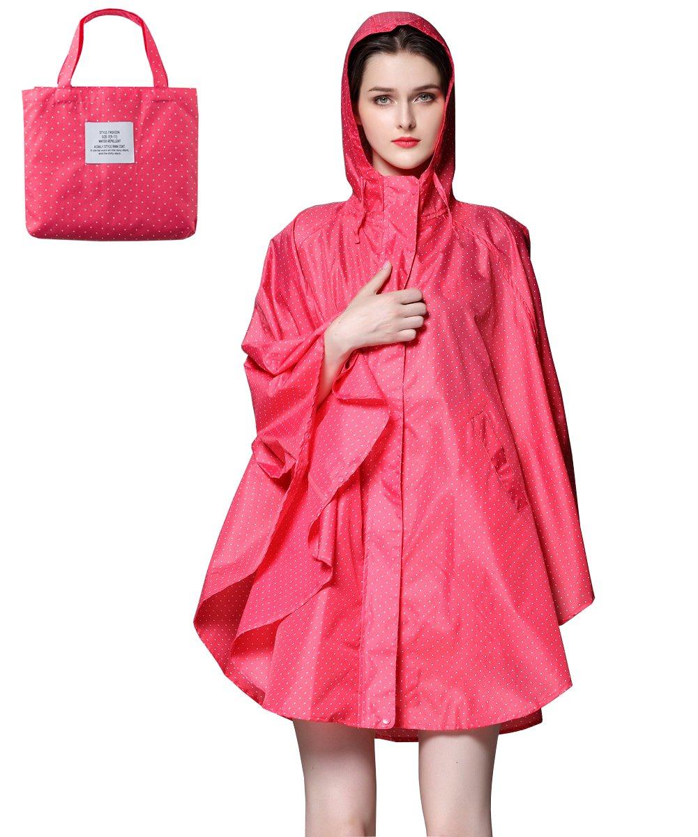 Aeman Lightweight Rain Poncho for Women - Hooded Waterproof Outdoor Travel Raincoat Rain Jacket with Zipper   Easy Carry