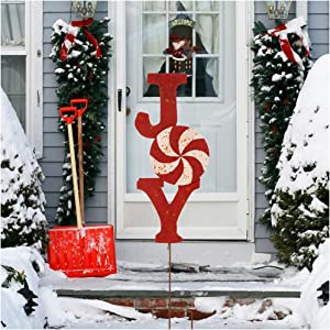 "Glitzhome Garden Stakes, Metal Garden Ornaments Patio Decor Metal Joy Yard Stakes Decorative for Outdoor Christmas Decorations Party Supplies Wall Décor 36"" H"