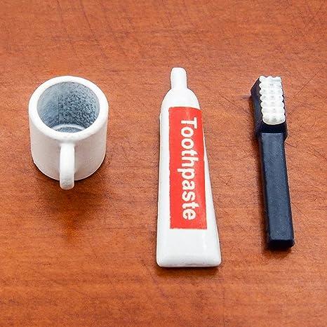 Casa de muñecas en miniatura 1:12 Set De Baño Accesorios Cepillo Pasta Dental Y Taza