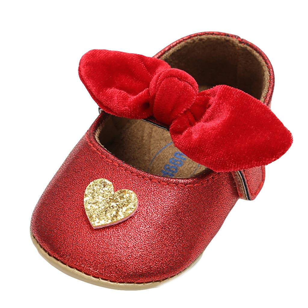 Baby Girl Princess Shoes,Jchen Newborn Infant Girl Sequin Heart Bling First Walker Shoes Soft Bowknot Shoes for 0-18 Month (Age:0-6 Months, Red)