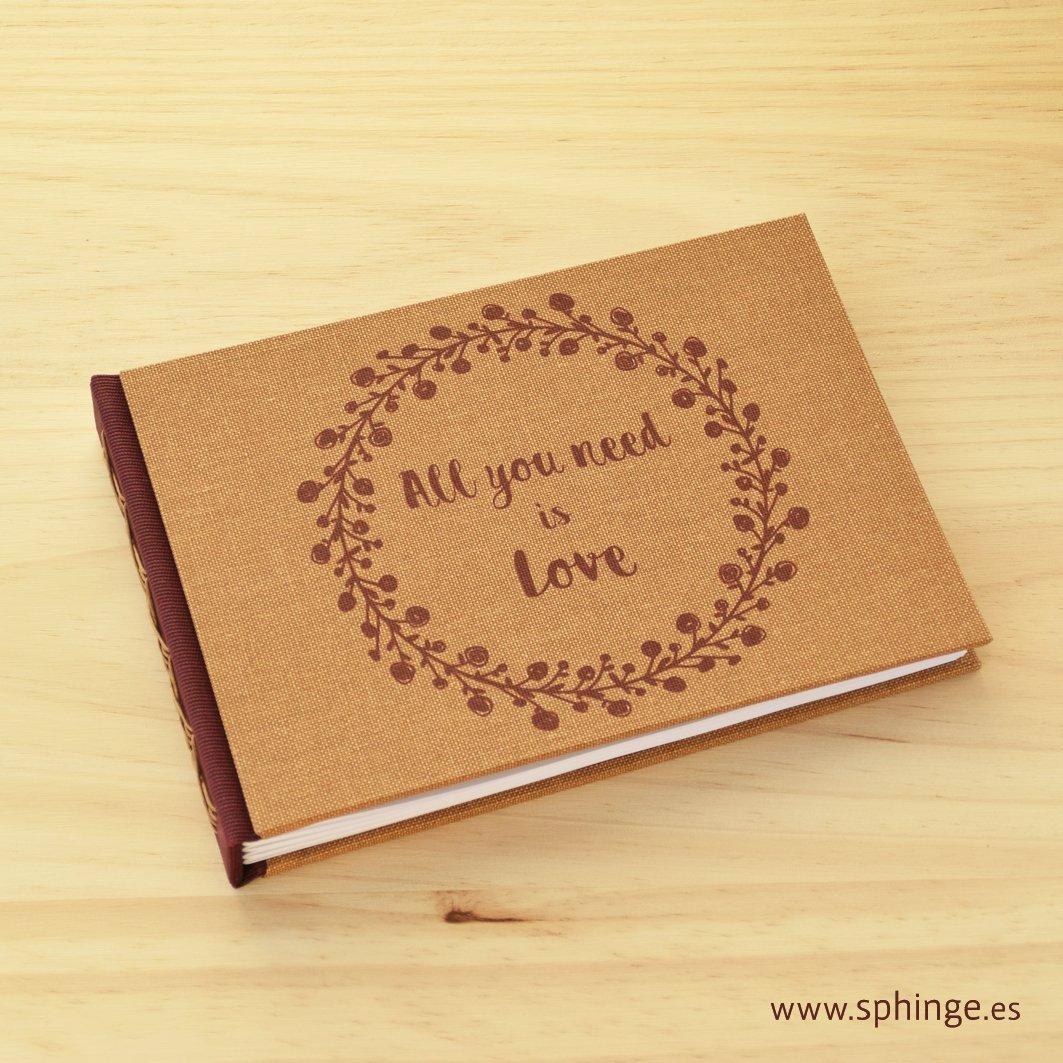 Libro de firmas artesanal, boda, comunión, formato apaisado, tamaño A5, personalizable
