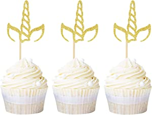 Ercadio 24 Pack Unicorn Horn Cupcake Toppers Gold Glitter Unicorn Cupcake Picks Decoration for Baby Shower Kids Birthday Party