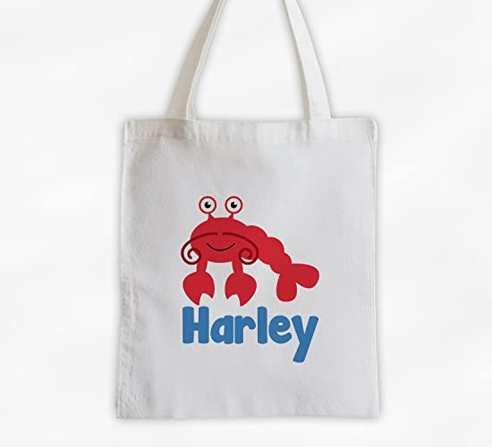 031ff6b328 Amazon.com  Lobster Kids Tote Bag - Personalized Sea Animal Cotton  Overnight Bag for Girls or Boys (3045-L)  Handmade