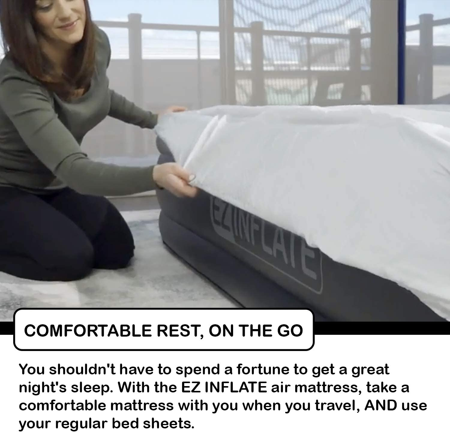 Amazon.com: EZ inflado doble cama de aire alto: Home & Kitchen