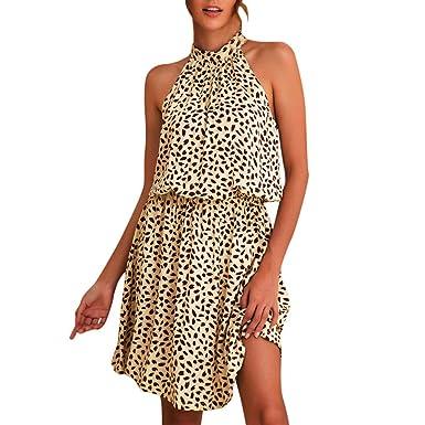 wholesale dealer da880 19a77 Darringls Vestiti Donna, Abito Eleganti Vestiti Lungo Estate Moda 2019  Vestito da Sera Cerimonia Maniche Corte Lunga Vestiti Boho Abito da  Spiaggia ...
