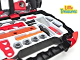 Little Treasures realistic pretend play toolkit toy set for preschoolers – multiple tools such as hammer, clamp, level ruler, wood file, chisel, pliers, drill, screws & bolts in easy-to-carry case