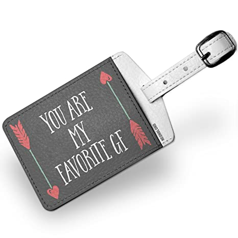 Amazon.com | Luggage Tag You Are My Favorite GF Valentines Day Arrows of Love - NEONBLOND | Luggage Tags