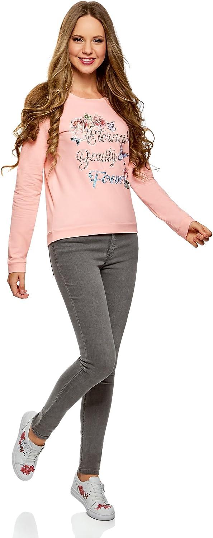 oodji Ultra Damen Baumwoll-Sweatshirt mit Druck