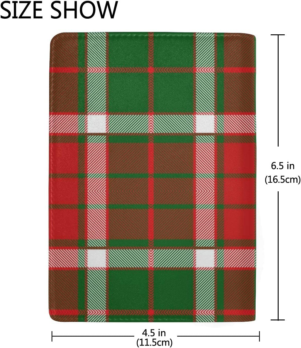 Christmas Gift Style Plaid Leather Passport Holder Cover Case Blocking Travel Wallet