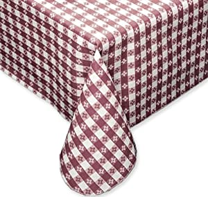 Fairfax Collection Tavern Check Classic Restaurant Quality Flannel Back Vinyl Tablecloth, 52X108 Oblong (Rectangle), Burgundy & White