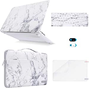 MOSISO MacBook Air 13 inch Case 2020 2019 2018 Release A2179 A1932 Retina, Plastic Hard Shell&Sleeve Bag&Keyboard Cover&Webcam Cover&Screen Protector Compatible with MacBook Air 13, White Marble