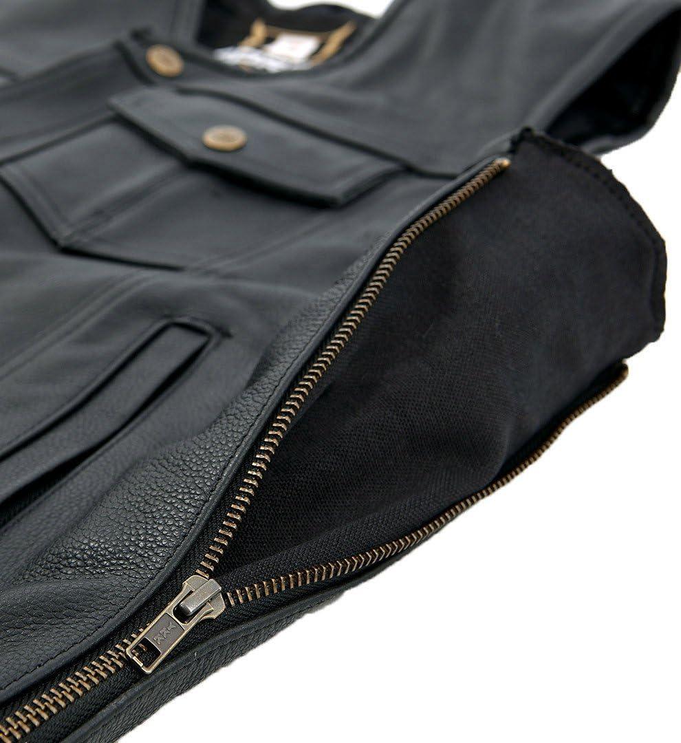 Schwarz Gr/ö/ße 3XL Bores Sunride 6 Lederweste Jeans-Optik mit Seitlicher Weitenverstellung