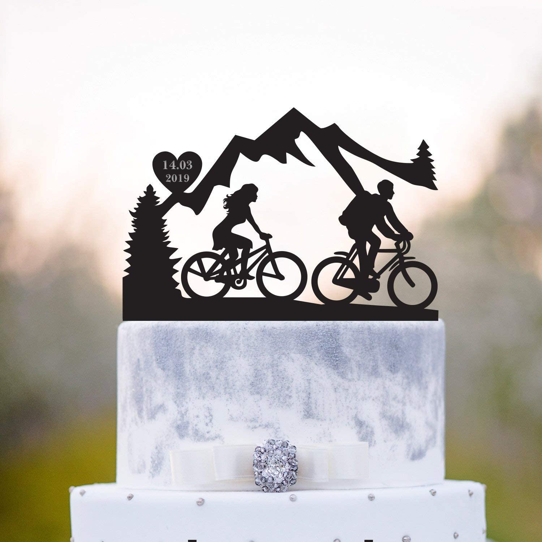 Adorno para tarta de bicicleta con diseño de pareja de amantes de ...