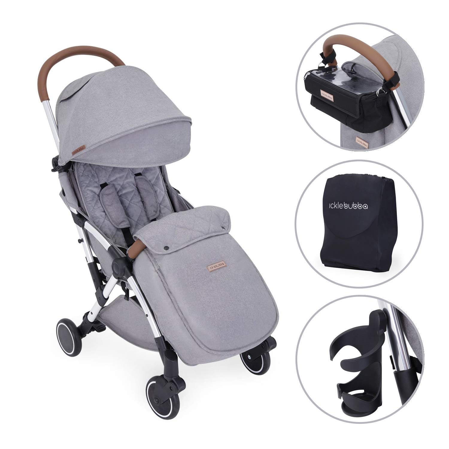 Denim Blue// Silver Folds Slim for Ultra Compact Storage Lightweight and Portable Stroller Pushchair Ickle Bubba Baby Strollers UPF 50+ Extendable Hood and Rain Cover Globe