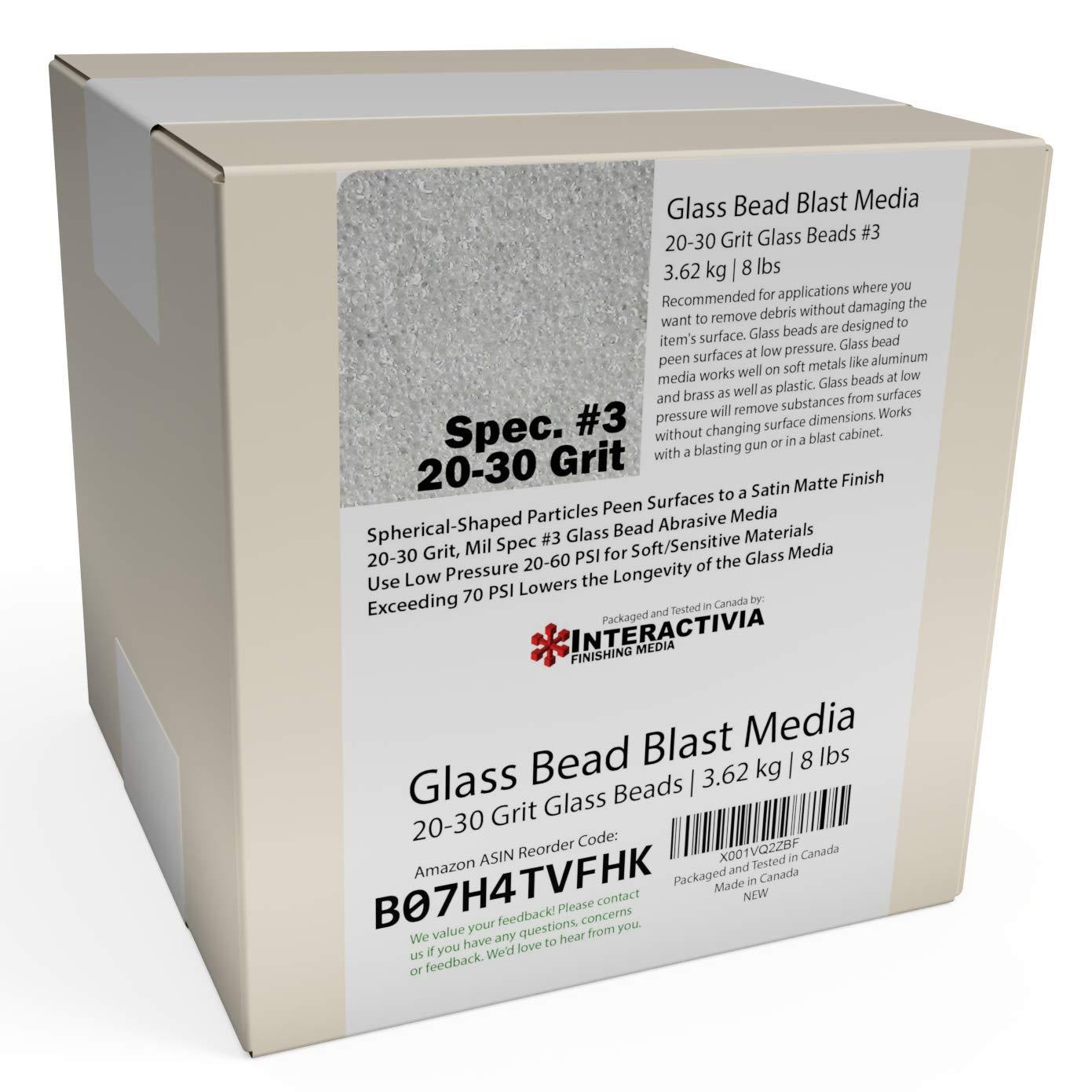 8 lb or 3.6 kg #3 Glass Bead Blasting Abrasive Media Course 20-30 Grit Or Commercial Spec No 3 for Blast Cabinets Or Sand Blasting Guns