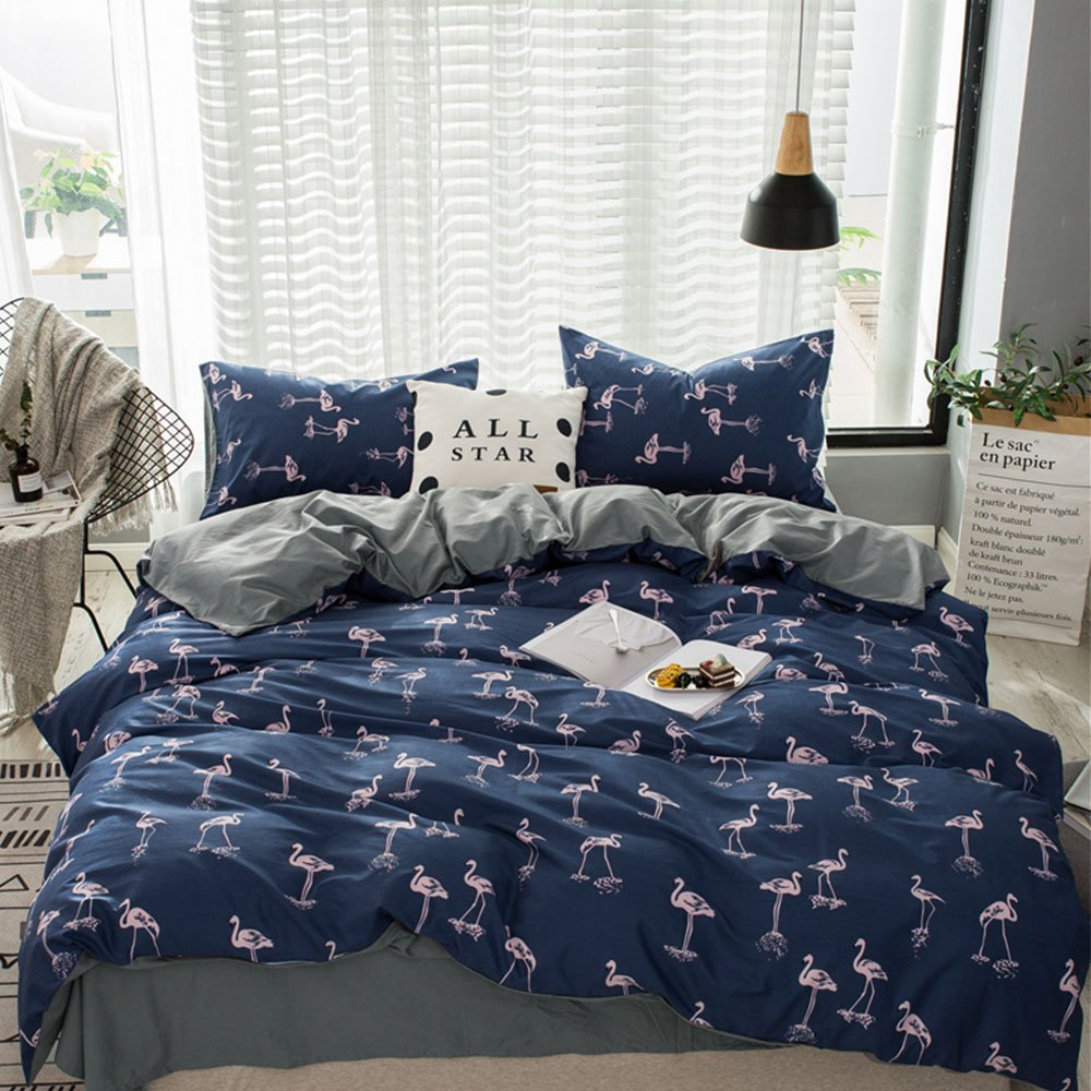 Lightweight Flamingo Printed Bedding Set Full Blue Grey Soft Cotton Duvet Cover Set 3 Piece Bedding Quilt Comforter