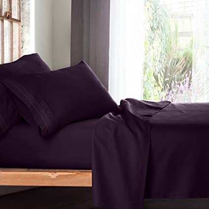 Perfect Premium King Size Sheets Set   Purple Eggplant Hotel Luxury 4 Piece Bed Set,