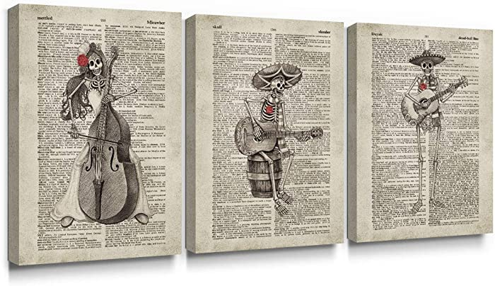 SUMGAR Canvas Wall Art Bedroom Day of The Dead Mexican Skull Decor Paintings Music Pictures Vintage Dictionary Prints Artwork 3 Piece,12x16 inch