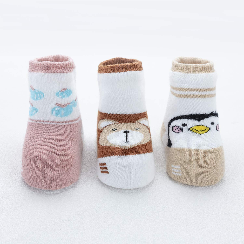 Adorel Baby Anti-Rutsch Socken Vollpl/üsch 3er-Pack in Box