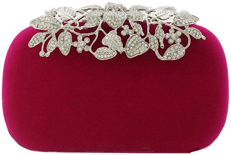 Bettyhome Women Luxury Velvet Crystal Rhinestone Leaf Flower Evening Bag Party Handbags Wedding Clutches Purse