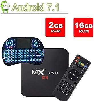 Digou MX Pro - Mini Teclado inalámbrico para Android TV Box, Android 7.1 TV Box 2GB/16GB Amlogic S905W Quad Core 64 bits Smart 4K TV Box con WiFi: Amazon.es: Electrónica