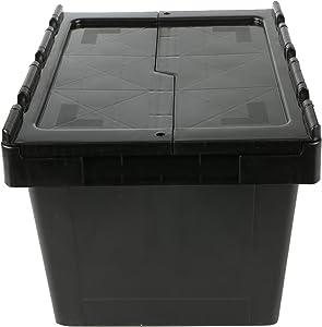 Mind Reader CRATE-BLK 16 Quart, 4 Gallon, Storage Bin, Stackable Heavy Duty Storage Crate, Black