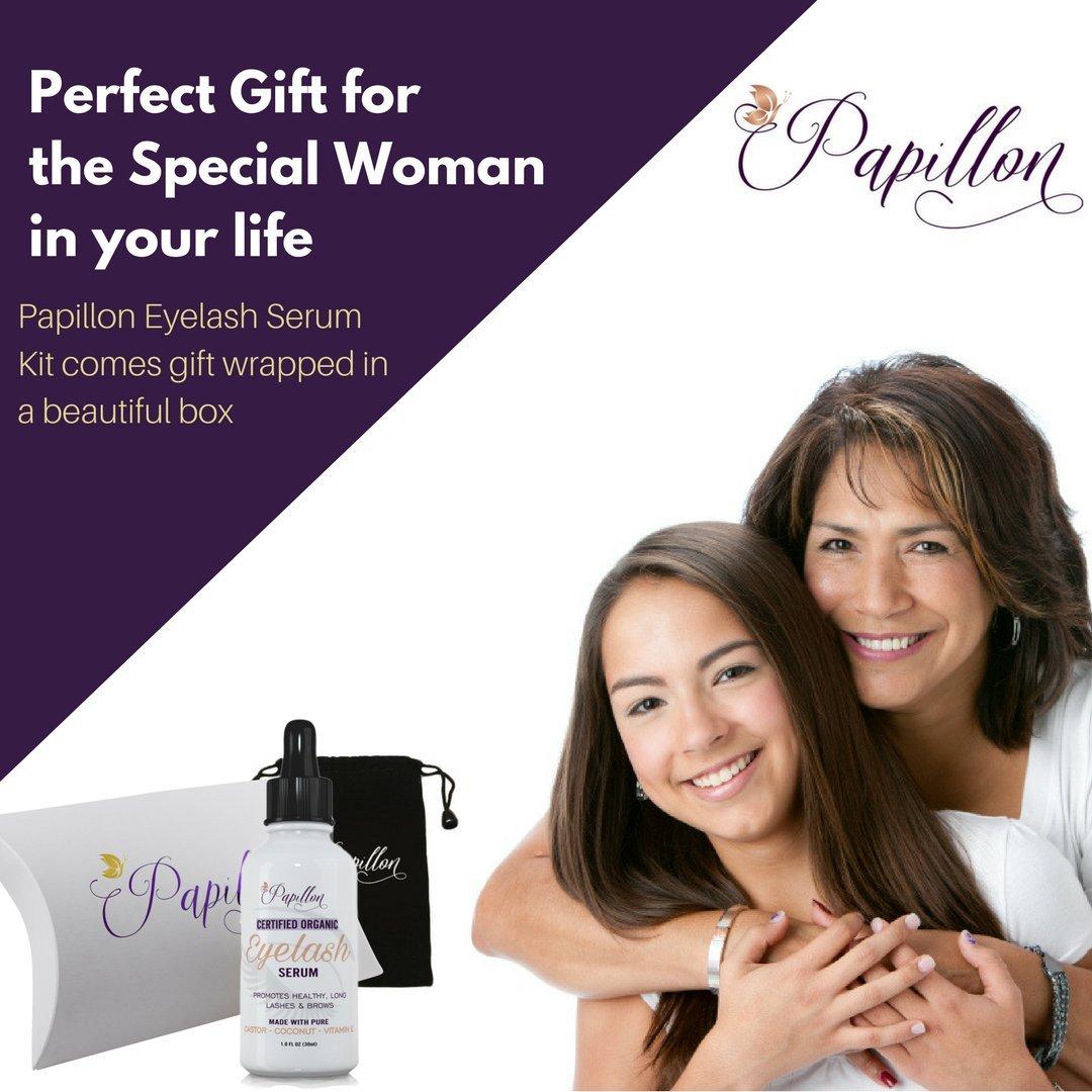 ea9f9b39d74 Amazon.com: Papillon Organic Eyelash Growth Serum with Castor, Coconut &  Avocado Oils + Vitamin E: Beauty