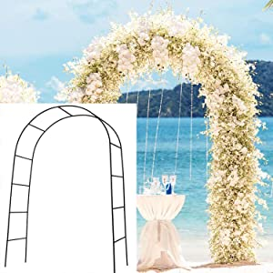 SzJias Adorox Metal Weddings Arch for Garden Climbing Plants Bridal Party Decoration(Black)