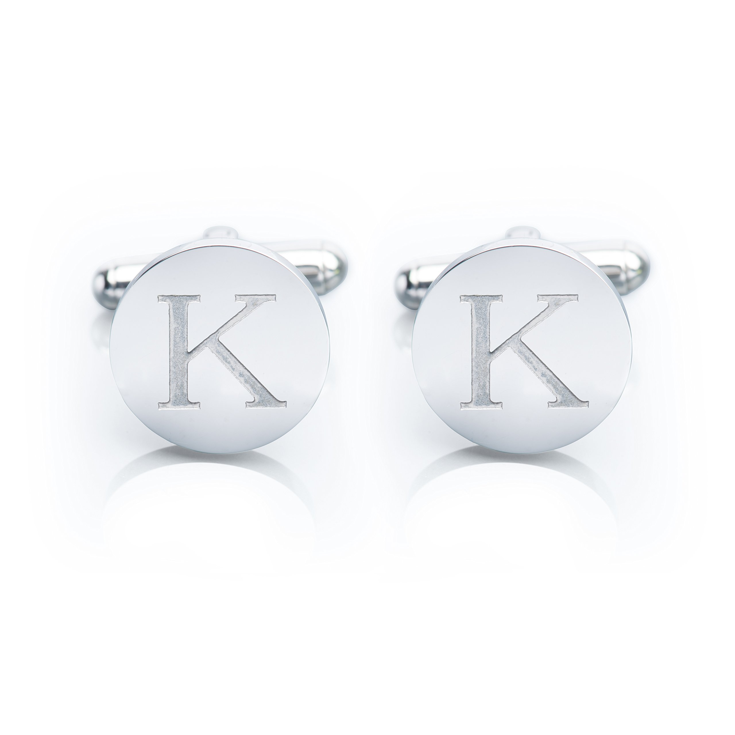 Men's 18K White Gold-Plated Engraved Initial Cufflinks with Gift Box– Premium Quality Personalized Alphabet Letter (K - White Gold)