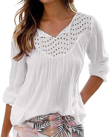 YIMOLL - Camisa de Tul para Mujer, de Manga Larga, Cuello en V, Elegante, Lisa, Simple y básica, Alta Blanco XXL: Amazon.es: Ropa y accesorios