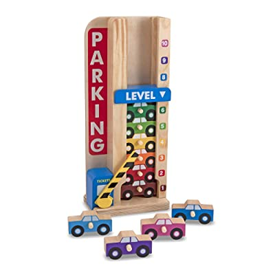 Melissa & Doug Stack & Count Wooden Parking Garage with 10 Cars: Melissa & Doug: Toys & Games