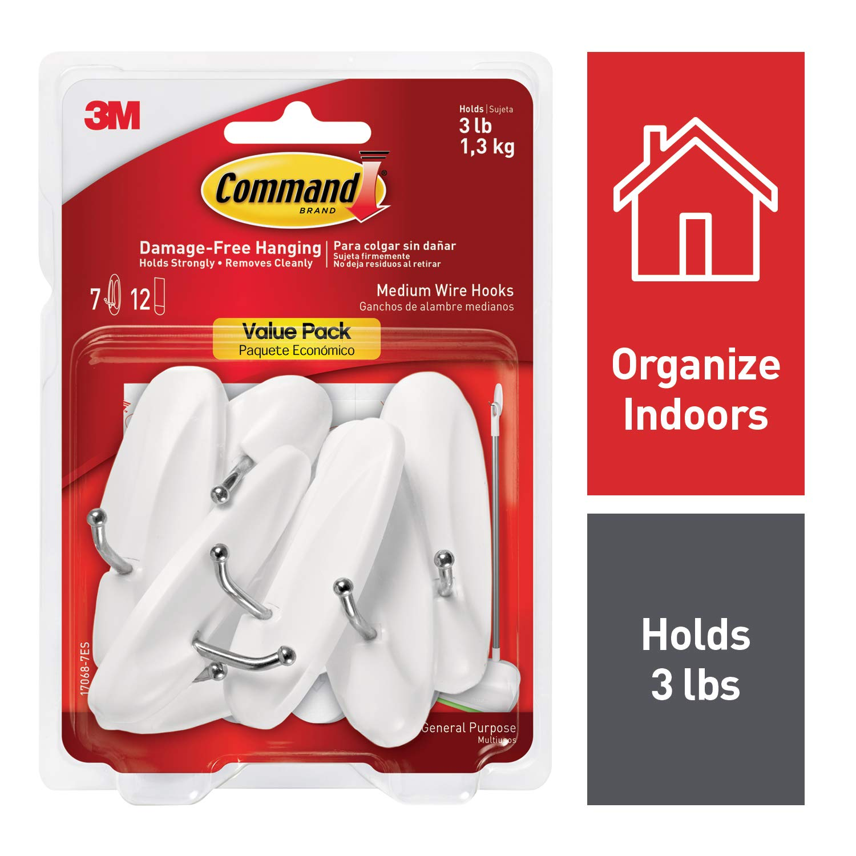 Command Wire Hooks Value Pack, Medium, White, 7-Hooks (17068-7ES) product image